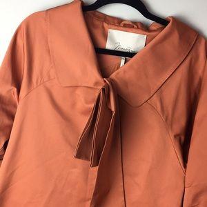 MaxAzria orange coral jacket peplum polyester silk